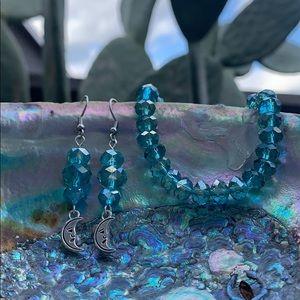 Blue Glass Jewelry Set- Moon Earrings & Bracelet